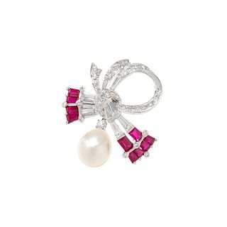 DIAMOND, SYNTHETIC RUBY AND CULTURED PEARL CONVERTIBLE BROOCH