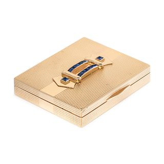 YELLOW GOLD AND SAPPHIRE COMPACT