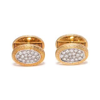 TIFFANY & CO., YELLOW GOLD AND DIAMOND CUFFLINKS