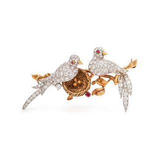 VAN CLEEF & ARPELS, DIAMOND AND RUBY 'LOVE BIRDS' BROOCH