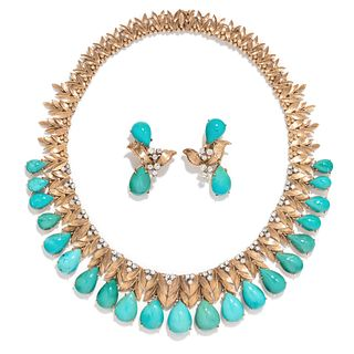 YELLOW GOLD, TURQUOISE AND DIAMOND SET