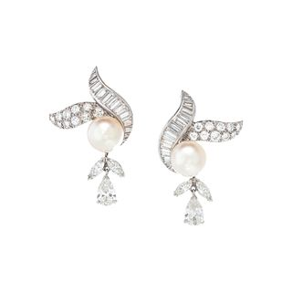 DIAMOND AND CULTURED PEARL EARCLIPS