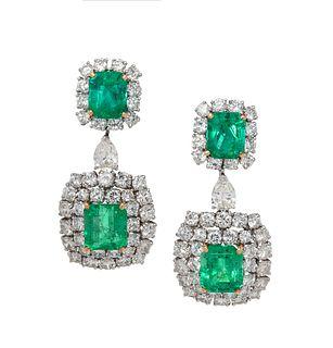 EMERALD AND DIAMOND EARCLIPS