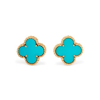 VAN CLEEF & ARPELS, YELLOW GOLD AND TURQUOISE 'ALHAMBRA' EARCLIPS