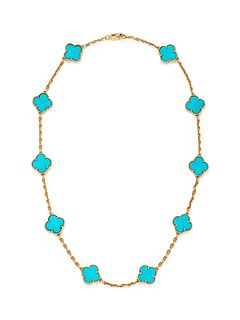 VAN CLEEF & ARPELS, YELLOW GOLD AND TURQUOISE 'ALHAMBRA' NECKLACE