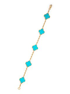 VAN CLEEF & ARPELS, YELLOW GOLD AND TURQUOISE 'ALHAMBRA' BRACELET