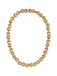 TIFFANY & CO., YELLOW GOLD AND DIAMOND 'INFINITY' NECKLACE