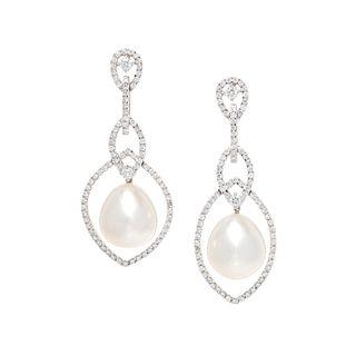 DIAMOND AND CULTURED SOUTH SEA PEARL EARRINGS