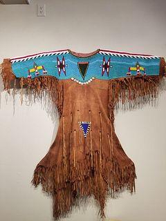Plains hide dress - Twentieth century.