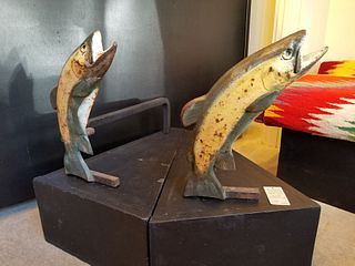 Jumping trout andirons in original paint!