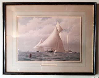 Yachts Atlanta and Mischief from original 1883 series American Yachts - Signed Fred S. Cozzens