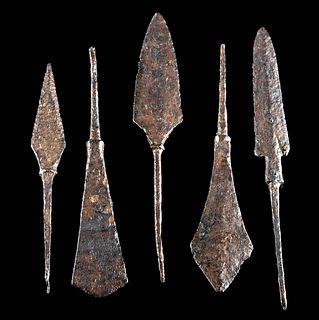 Lot of 5 Medieval European Iron Arrowheads