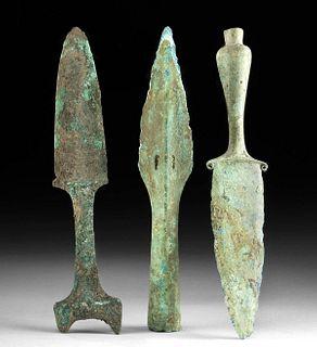 Lot of 3 Vietnamese Dong Son Bronze Daggers & Spear Tip