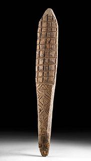 20th C. Papua New Guinea Black Palm Wood Tapa Beater