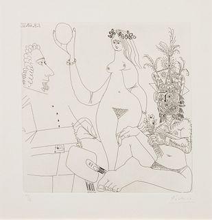 Pablo Picasso (Spanish, 1881-1973) Peintre devant une Trois Graces, 1968