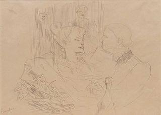 Henri de Toulouse-Lautrec (French, 1864 - 1901) Souper a Londres (Supper in London), (from Etudes des Femmes by Le Livre Vert), 1896