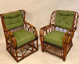 Pair oversized Rattan Wing Chairs, circa 1920 - Priced for Pair - Courtesy James Butterworth - Antiques American Wicker