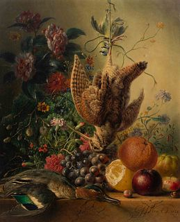 Georgius Jacobus Johannes Van Os I  (Dutch, 1782-1861) Still Life with Flowers and Birds, 1838