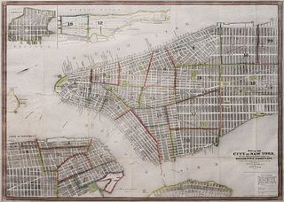 John M. Atwood (Fl. 1840-1865) Map of the City of New York with adjacent cities of Brooklyn and Jersey City and the Village of Williamsburg