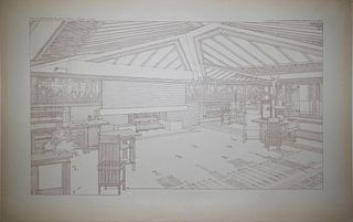 Frank Lloyd Wright (1867-1959) - Living Room, The Avery Coonley House, Tafel LVI