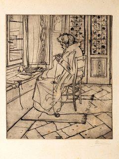 Umberto Boccioni (Reggio Calabria 1982-Verona 1916)  - Mom working in front of the window, 1907