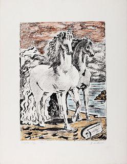 Giorgio de Chirico (Volos 1888-Roma 1978)  - Ancient horses, 1966