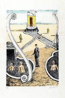 Giorgio de Chirico (Volos 1888-Roma 1978)  - The host of the mysterious bathers, 1969