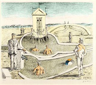 Giorgio de Chirico (Volos 1888-Roma 1978)  - The cabin in the mysterious bathrooms, 1968