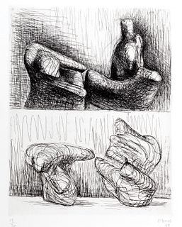 Henry Moore (Castleford 1898-Perry Green 1986)  - Two piece reclining figures, 1969