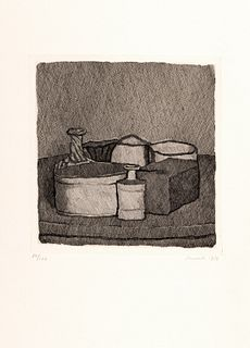 Giorgio Morandi (Bologna 1890-1964)  - Still life with four objects and three bottles, 1956