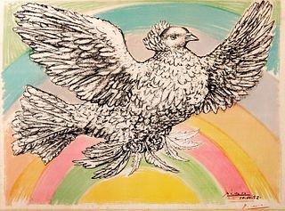 Pablo Picasso (Málaga 1881-Mougins 1973)  - Colombe volant (à l'arc-en-ciel), 1952