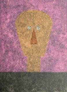 Cabeza sobre fondo rosa de Rufino Tamayo