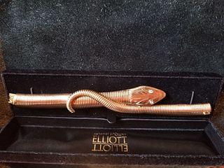 Victorian snake bracelet with 18k gold articulated body & diamond eyes