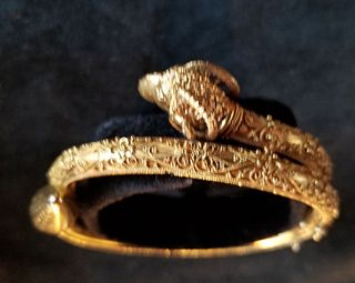 Etruscan revival 18k gold bracelet with figural ram's head