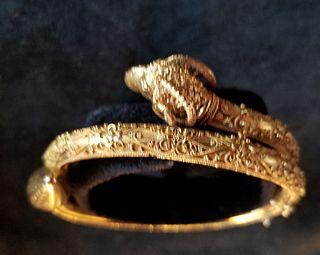 Etruscan revival 18k gold bracelet with figural ram's head