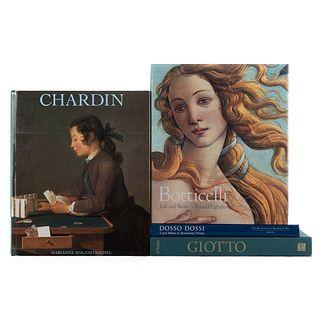 Roland Michel, Marianne / Flores D'Arcais, Francesca / Lightbown, Ronald. Chardin / Giotto / Botticelli / Dosso Dossi. Pzas: 4.