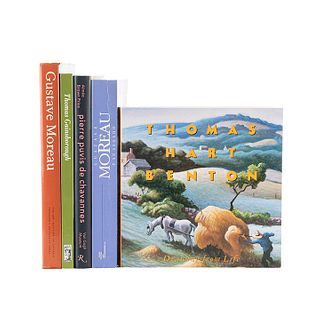 Libros sobre Moreau, Gainsborough, Puvis de Chavannes, Hart Benton. Piezas: 5.