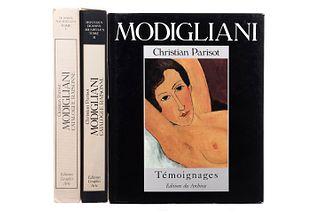 Parisot, Christian. Modigliani Témoignages Recueillis par Christian Parisot / Modigliani. Catalogue Raisonné. Piezas: 3.
