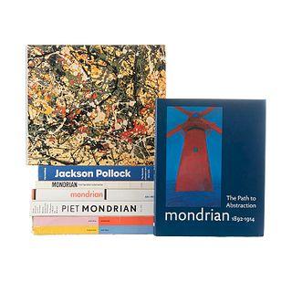 Libros sobre Jackson Pollock y Piet Mondrian.  Piezas: 8.