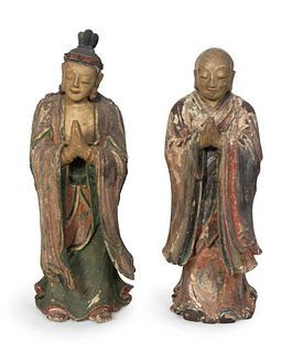 A Pair of Chinese Polychromed Figures of Luohan Height of figures 30 x  width 11  x depth 9 ½ inches.