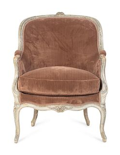 A Louis XV Grey Painted Bergere Height 38 1/2 x width 30 x depth 31 inches.