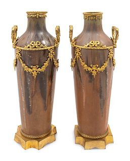 A Pair of Louis XVI Style Gilt-Metal-Mounted Pottery Vases Height 10 x width 4 inches
