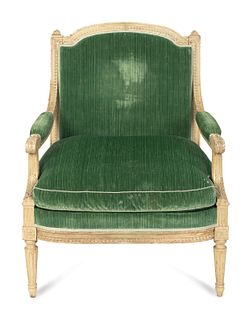 A Louis XVI Grey-Painted Fauteuil a  la Reine Height 38 x width 29 x depth 29 inches.