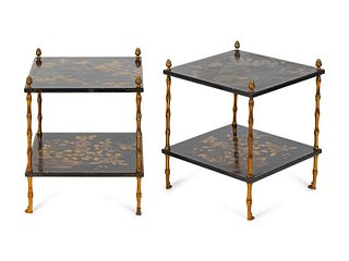 A Pair Gilt-Bronze-Mounted Two-Tiered Lacquered Tables Height 18 ½ x width 16 x depth 16 inches