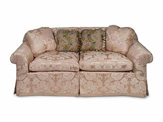 A Pair of Contemporary Damask Upholstered Settees Height 30 x length 75 x depth 35 inches.