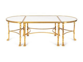 A Louis XVI Style Gilt Bronze and Marble Three Piece Cocktail Table Height 18 x length 55 x 29 1/2 inches.