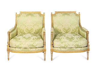 A Pair of Louis XVI Style Giltwood Marquises Height 39 1/2 x width 32 x depth 24 inches.