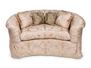 A Contemporary Damask-Upholstered Settee Height 30 x length 60 x depth 38 inches.