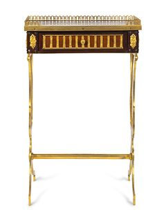 A Louis XVI Style Gilt-Bronze and Parquetry Table en Chiffoniere Height 26 1/2 x width 16 1/2 x depth 12 inches.