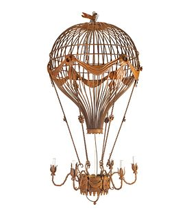 A Patinated Metal Six-Light Montgolfier Chandelier Height 55 x diameter 30 inches.